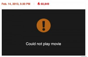 Message warning that a video cannot be played